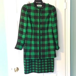 Vintage 80s Silk Suit Green Black Checked Plaid
